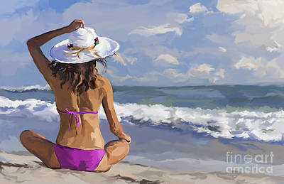 Painting - Woman Girl Sitting Sun Hat And Bikini On Beach by Tim Gilliland