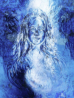 Youthful Painting - Woman Goddess. Young Attractive Woman Coated In Metallic Silver Paint. Crackle Effect. by Jozef Klopacka