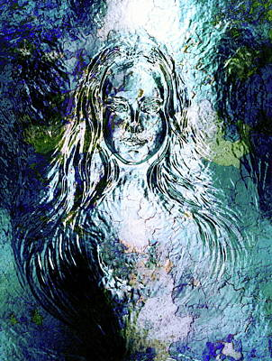 Youthful Painting - Woman Goddess. Young Attractive Woman Coated In Metallic Silver Paint  by Jozef Klopacka
