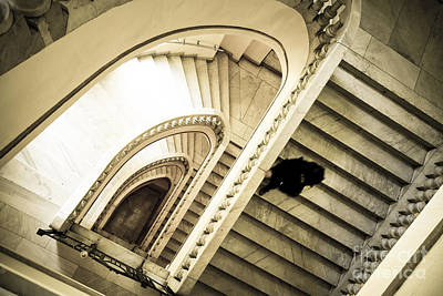 Woman Going Down At Staircase Art Print by Perry Van Munster