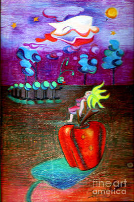 Colored Woman Art Drawing - Woman Guarding The Apple by Genevieve Esson