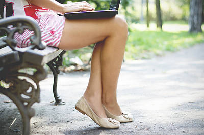 Photograph - Woman Hands Closeup Using Laptop In Park by Newnow Photography By Vera Cepic