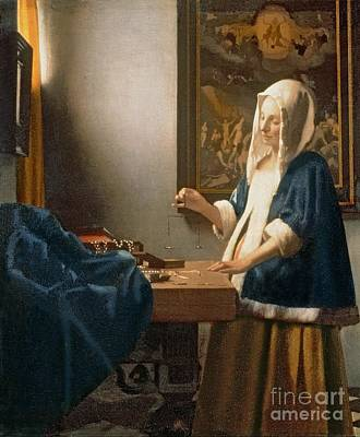 Table Painting - Woman Holding A Balance by Jan Vermeer