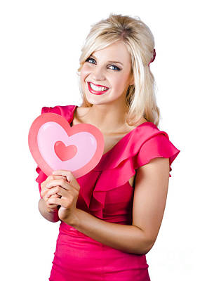 Photograph - Woman Holding A Pink Heart-shape by Jorgo Photography - Wall Art Gallery