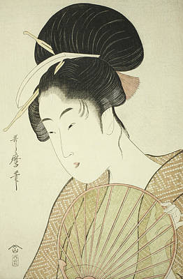 Colored Woman Art Drawing - Woman Holding A Round Fan by Kitagawa Utamaro