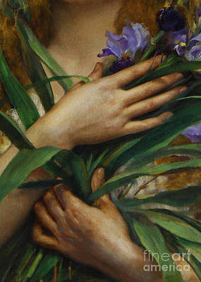 Of Irises Painting - Woman Holding Irises, French Pre-raphaelite Painting by Tina Lavoie