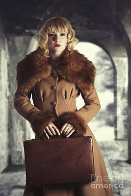Blonde Hair Photograph - Woman Holding Suitcase by Amanda Elwell