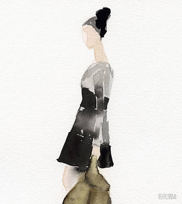 Watercolor Portraits Painting - Woman In A Black And Gray Dress Fashion Illustration Art Print by Beverly Brown