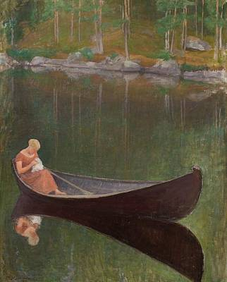 Pekka Wall Art - Painting - Woman In A Boat by MotionAge Designs