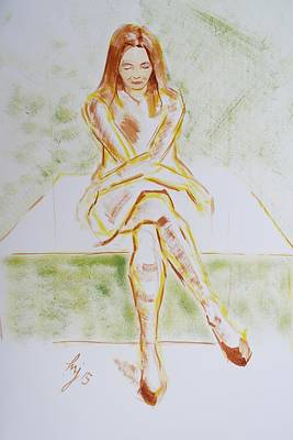 Woman In A Dress Sitting With Her Arms And Legs Crossed Original by Mike Jory