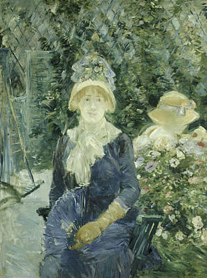 Vines Painting - Woman In A Garden by Berthe Morisot