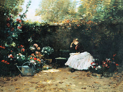 Photograph - Woman In A Garden by Louis Marie De Schryver