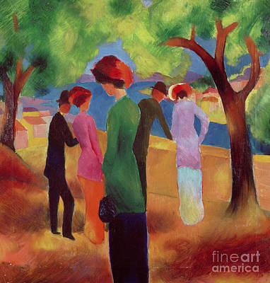 Park Painting - Woman In A Green Jacket by August Macke