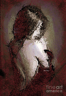 Digital Art - Woman In A Red Dress by Rafael Salazar