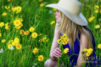 Woman In A Spring Meadow Art Print by George Oze