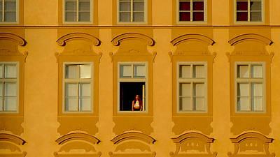 Photograph - Woman In A Window In Prague by Barbara Budish