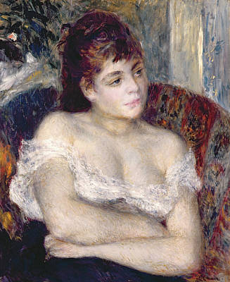 Chest Painting - Woman In An Armchair by Pierre Auguste Renoir