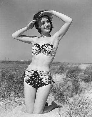 Summer Fun Photograph - Woman In Bikini, C.1950s by H. Armstrong Roberts/ClassicStock