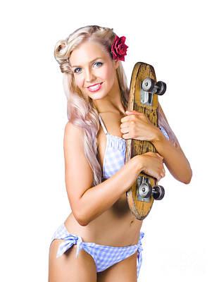 Photograph - Woman In Bikini Holding Skateboard by Jorgo Photography - Wall Art Gallery