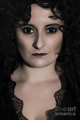 Dark Eyes Photograph - Woman In Black by Amanda Elwell