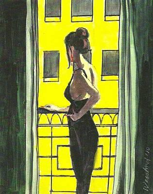 Woman In Black Dress On Balcony Art Print by Harry  Weisburd