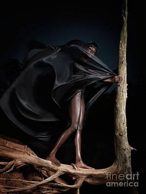 Woman In Black Flying Outfit Art Print by Oleksiy Maksymenko