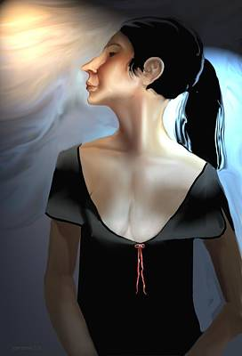 Digital Art - Woman In Black by Kerry Beverly