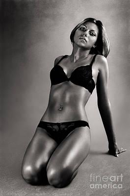 Lingerie Photograph - Woman In Black Lingerie by Oleksiy Maksymenko