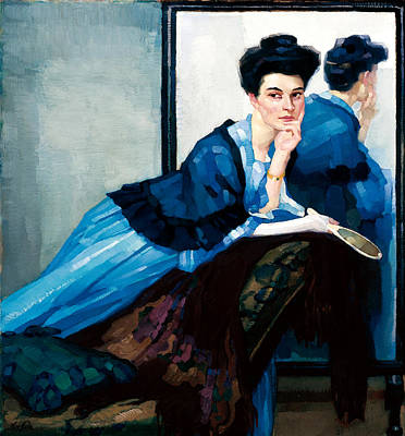 Chaise Longue Painting - Woman In Blue by Leo Putz