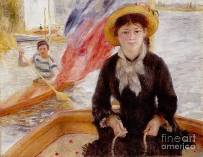 Woman In Boat With Canoeist Art Print by Renoir