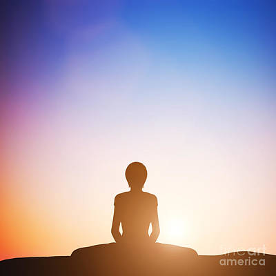 Sitting Photograph - Woman In Bound Angle Yoga Pose Meditating At Sunset by Michal Bednarek