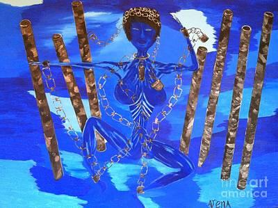 Woman In Chains Art Print