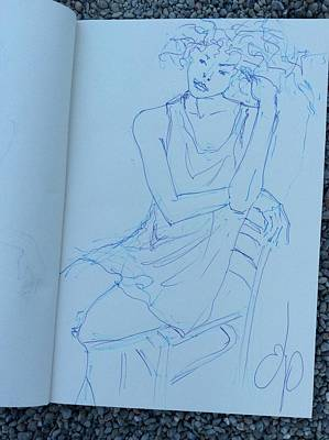 Drawing - Woman In Chair 1 by Elizabeth Parashis