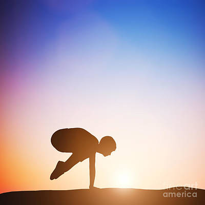 Relax Photograph - Woman In Crane Pose Yoga Pose Meditating At Sunset by Michal Bednarek