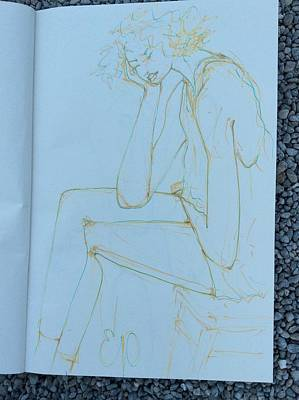Drawing - Woman In Despair by Elizabeth Parashis