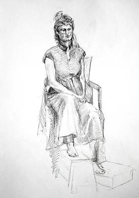 Inner World Drawing - Woman In Dress by Mark Johnson