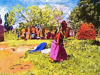Ghana Painting - Woman In Fields Of Ghana by Deborah MacQuarrie-Selib