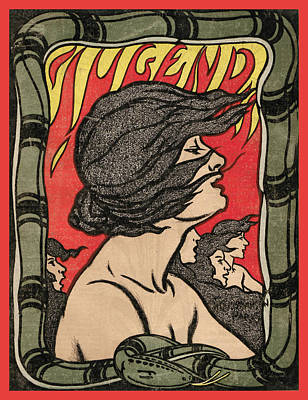 Painting - Woman In Flames Jugend Magazine Cover by Jugend Magazine