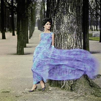 Photograph - Woman In Flowing Pierre Cardin Gown by Henry Clarke