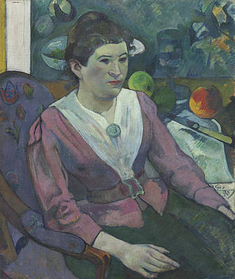 Interior Still Life Painting - Woman In Front Of A Still Life By Cezanne by Paul Gauguin