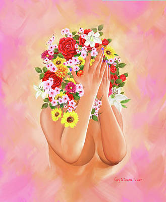 Digital Art - Woman In Full Blossom by Gary Donald Sanchez