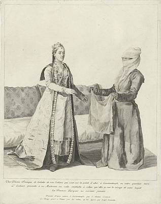 Painting - Woman In Galata Gets A Veil, Jean-etienne Liotard, 1745 by Celestial Images