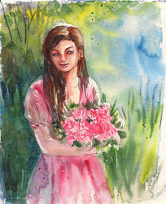 Painting - Woman In Garden by Asha Sudhaker Shenoy
