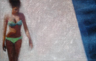 Woman In Green Bikini Art Print by Geoff Greene
