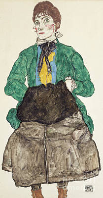 Drawing - Woman In Green Blouse With Muff by Egon Schiele