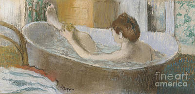 On Paper Pastel - Woman In Her Bath by Edgar Degas