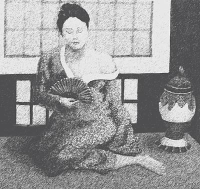 Digital Art - Woman In Kimono by Don Perino
