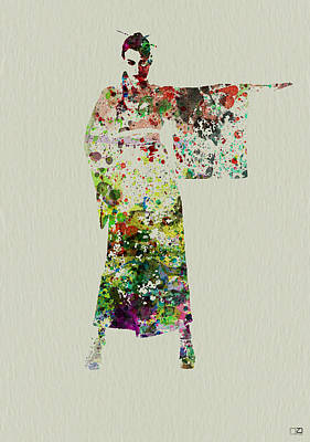 Dancing Girl Painting - Woman In Kimono by Naxart Studio