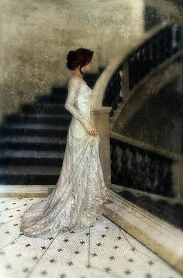 Wedding Dress Photograph - Woman In Lace Gown On Staircase by Jill Battaglia