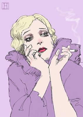 Woman In Lavender Art Print by H James Hoff
